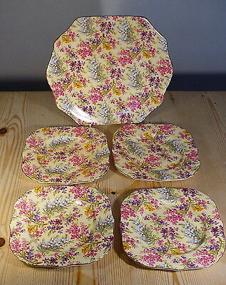 Chintz Bread & Butter / Cake Plate & Four Side Plates