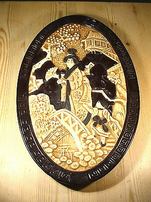 Bretby Art Nouveau Japanese Style Oval Wall Hanging 1509