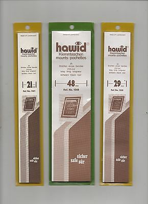 Hawid Black Stamp Mounts - 3 Packets Of Strips As Scan - New & Unopened (Lot C)