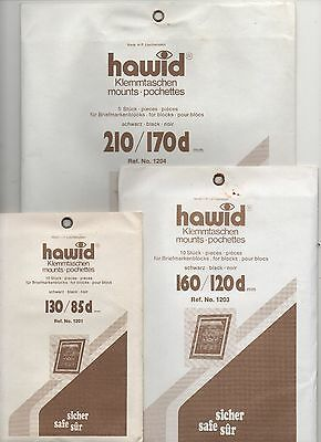 Hawid Black Stamp Mounts - 3 Packets Of Strips As Scan - New & Unopened (Lot E)