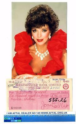 Joan Collins vintage signed Bank Cheque /Check AFTAL