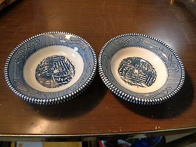 """4 Currier Ives Royal China Blue and White Farm Gate Berry Fruit Bowl 5 3/8"""" NICE"""
