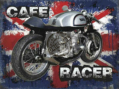 Cafe Racer British Classic Vintage Old Style Custom Motor Bike Metal Wall Sign