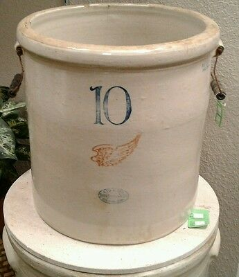 Antique Vintage Red Wing 10 Gallon Stoneware Crock With Bail Handles Dec 1915