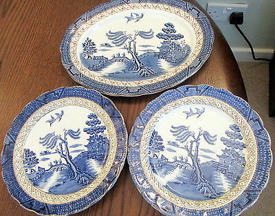 """Job Lot Booth's Real Old Willow - 4  PLATES 8.5  INCH  *  1 11 """" Oval Platter"""