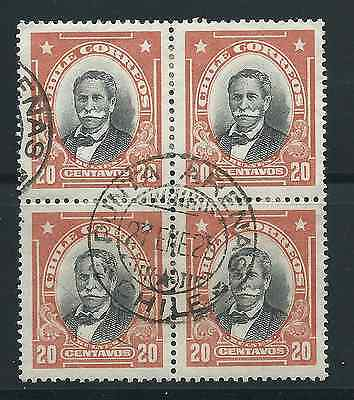 CHILE perfect cancel PUNTA ARENAS on block of 4 President M. Bulnes 20 cts