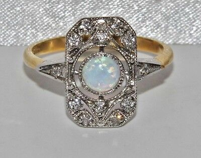 Art Deco 9ct Yellow Gold on Silver Opal Cabochon Cluster Ring - size N