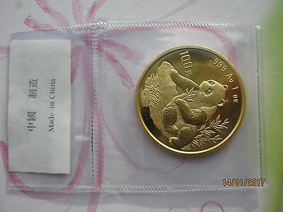 China 1998, 100 Yuan WWF Panda 1 oz 999er Gold, Typ1 (Large date),VOP/OMP