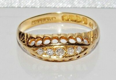 ANTIQUE 18 CT YELLOW GOLD DIAMOND 5 STONE ETERNITY RING - size M - CHESTER