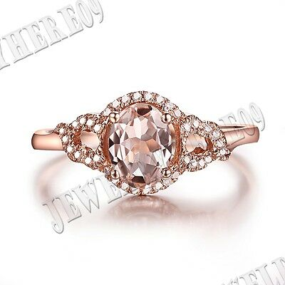 Oval 7x5mm Morganite Diamond Engagement Wedding Ring Present Solid 10k Rose Gold