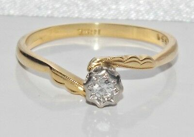 Antique 18ct Yellow Gold & Platinum Diamond Solitaire Engagement Ring - size O