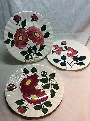 Blue Ridge Southern Potteries Red Nocturne 3 Luncheon Plates