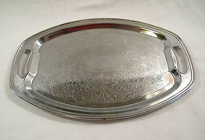 "Vintage IRWINWARE 14"" Oval Platter Tray Chrome? with Handles"
