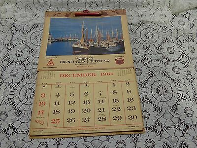 1961 Vintage Calendar Windsor County Feed & Supply Co. Vermont Farming