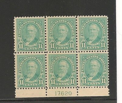 us sc#565 f/vf+ nh bottom plate block of 6 sharp item nice color high catalog