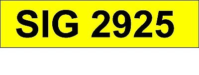 SIG 2925  Private Number Plate Personal Registration.