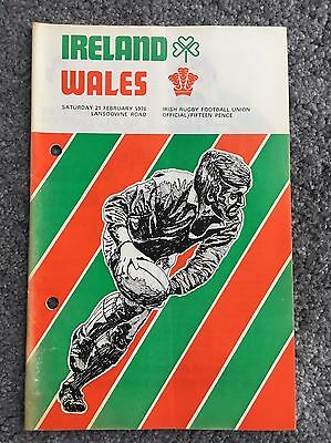 Ireland v Wales Rugby Programme 1976