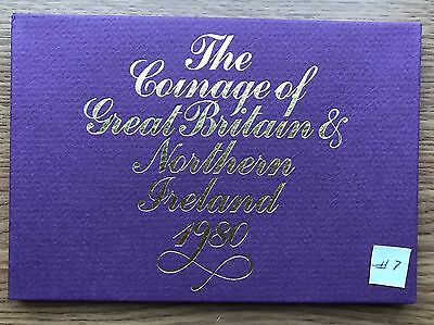 1980 Royal Mint Proof 6 Coin Collection - Original Sleeve - UK/GB Year Set #7