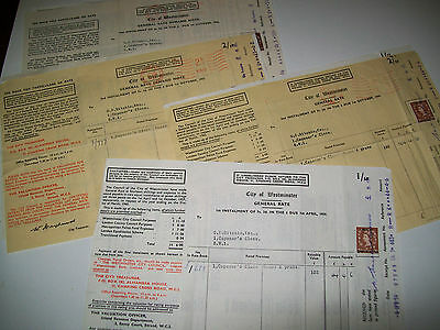 vintage general rate invoices 1950's london