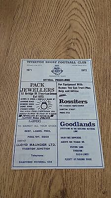 Tiverton v Yeovil 1971-72 Rugby Union Programme