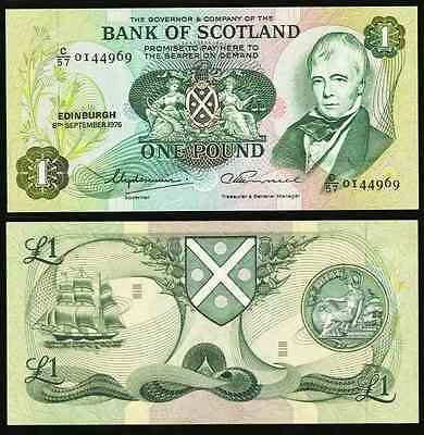 1976 Bank of Scotland One Pound Banknote Pick Number 111c Crisp Uncirculated