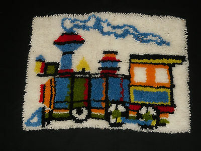 """Train Steam Locomotive  24"""" X 18"""" Latch Hook for Wall Hanging or Pillow"""
