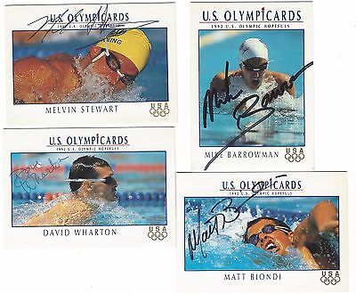 Four Autographed Signed 1992 Impel Olympicards, Swimming Olympic Hopefuls