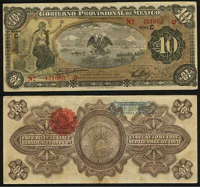 Currency 10 Peso Banknote Provisional Government Mexico Veracruze Dec 1, 1914 XF