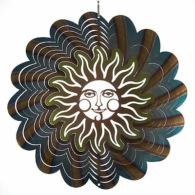 Iron Stop Smiling Sun Hanging Metal Wind Spinner Garden Yard Deck Indoor Outdoor