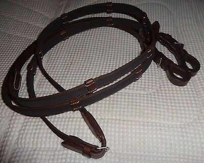 English/Event Show Reins -Rubberized Grip/Quality Chestnut Leather- Buckles -NEW