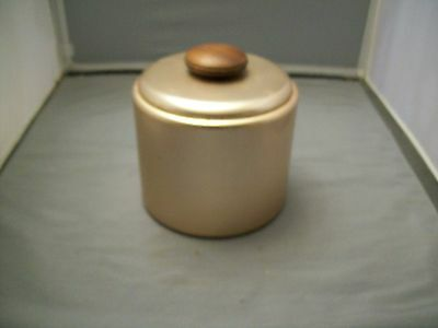 Vintage Copper Look Aluminum Mirro Canister W/Lid W/Wooden Knob