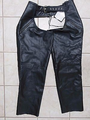 FMC Motorcycle Chaps Black Leather Mens 3XL NWT