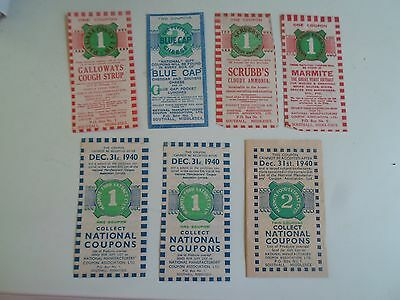 Rare Vintage War Time Food Coupons Marmite, Scrubbs+Galloways Syrup+Blue Cap