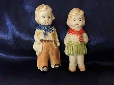 "Vintage Cowboy & Cowgirl Bisque Frozen Charlotte Penny Doll Made in Japan 3"" Set"
