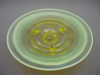 Vintage Depression Opalescent Vaseline Uranium Glass Footed Cake Goody Dish Tray