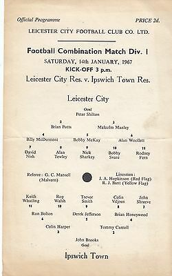 Leicester City Reserves v Ipswich Town Reserves 1966/7