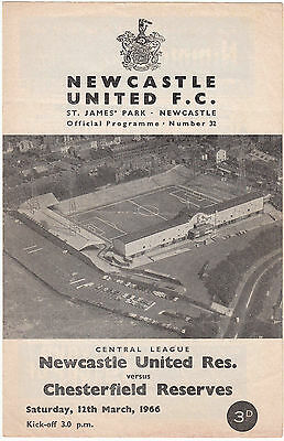 Newcastle United Reserves v Chesterfield Reserves 1965/6 (12 Mar) Central League