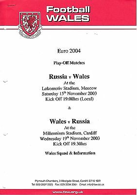 Press Squad Information - Russia v Wales 15.11.2003 & Wales v Russia 19.11.2003
