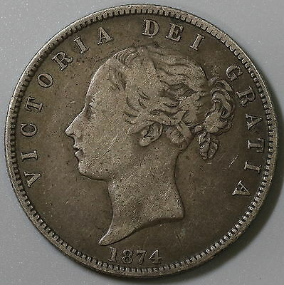 1874 GREAT BRITAIN Silver 1/2 Crown Victoria Young Head Coin (16042001S)