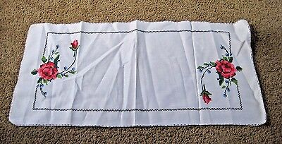 "Vintage Finished Counted Cross Stitch Table Runner - Roses - 14"" x 30"""