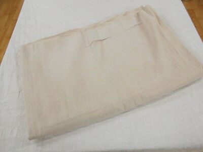 58x85 Vtg Antique NO STRIPE French HEMP Cream LINEN Fabric FEED SACK GRAIN BAG