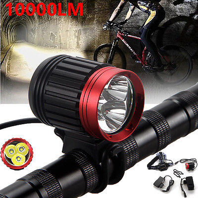 10000LM Rechargeable Bike Bicycle 3x CREE XML T6 LED Front Head Light Headlamp O