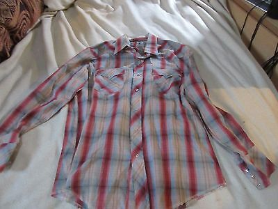 Vtg 70's The Hustler Collection Pearl Snap Plaid Western Cowboy Shirt.Mans M/L