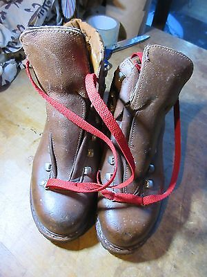 Vtg LOWA Brown Leather Hiking Boots -Men's US 6.5 Vibram Soles.Mountaineering