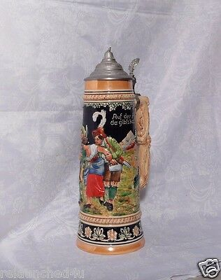 "Huge German Lidded Stein 3 liters 16 1/2"" tall"