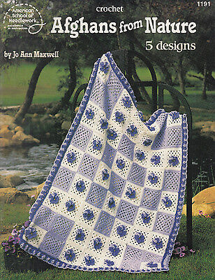 American School Of Needlework Afghans From Nature Crochet Pattern Book
