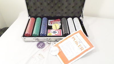 Never used Poker Set Chips Cards Dice in Locking Metal Case w/keys