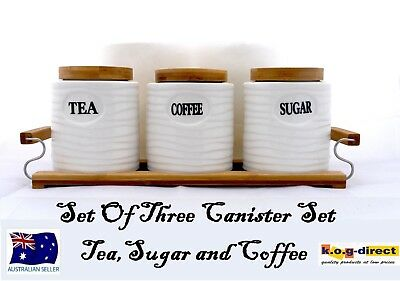 Set Of 3 Canister Set Tea Coffee And Sugar White Wooden Stand Oval Hw-183