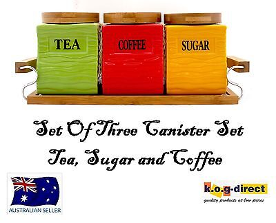 Set Of 3 Coloured Canister Set Tea Coffee And Sugar Wooden Stand Square Hw-180