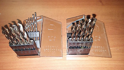 (2) Lawson Drill Bit Sets 13 Pc 1/16 To 1/4 Hss With Metal Case Usa Made Index